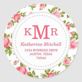 Girly Vintage Roses Floral Monogram Address Labels Round Stickers