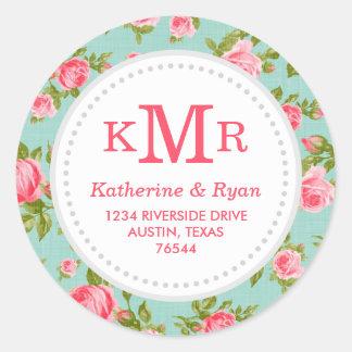 Girly Vintage Roses Floral Monogram Address Labels Round Sticker