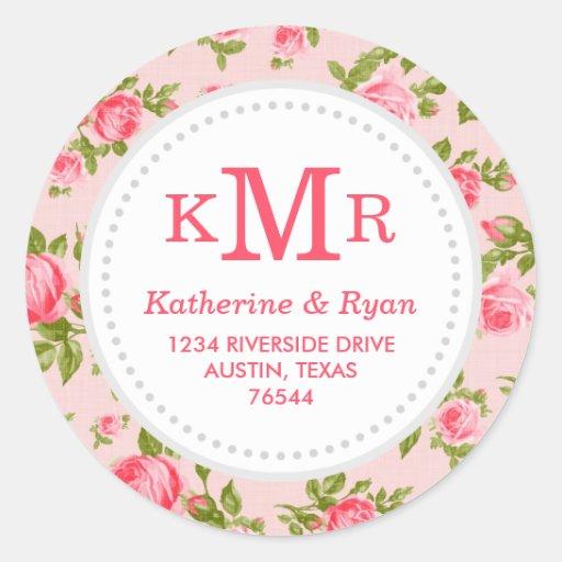 Girly Vintage Roses Floral Monogram Address Labels Stickers