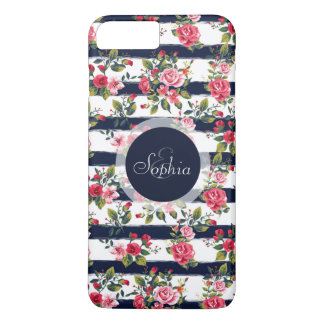 Girly vintage roses floral watercolor stripes iPhone 8 plus/7 plus case