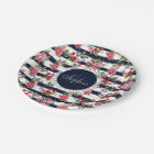 Girly vintage roses floral watercolor stripes paper plate