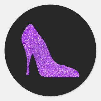 Girly Violet Glitter High Heel Black Round Sticker