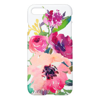 Girly Watercolor Floral Pink Red Roses Zazzle iPhone 8/7 Case
