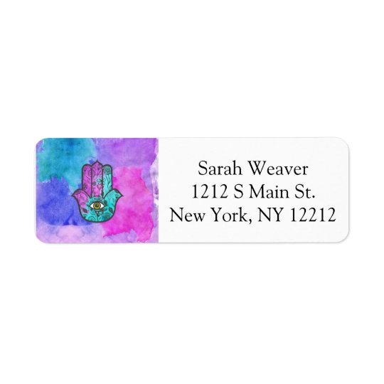 Girly Watercolor Floral Print Hamsa Hand of Fatima Return Address Label
