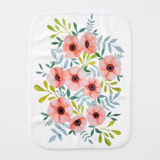 Girly Watercolor Pink Floral Illustration Burp Cloth