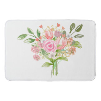 Girly Watercolor Roses and Tulips Bath Mats