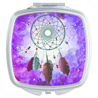 Girly Watercolor Space Nebula Dream Catcher Travel Mirror