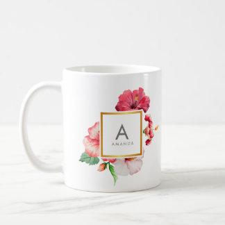 Girly Watercolor TROPICAL hibiscus Flower Monogram Coffee Mug