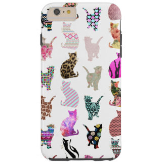 Girly Whimsical Cats aztec floral stripes pattern Tough iPhone 6 Plus Case