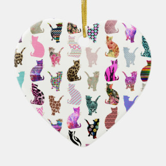 Girly Whimsical Cats aztec floral stripes pattern Ceramic Heart Decoration