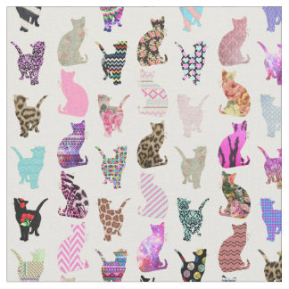 Girly Whimsical Cats aztec floral stripes pattern Fabric