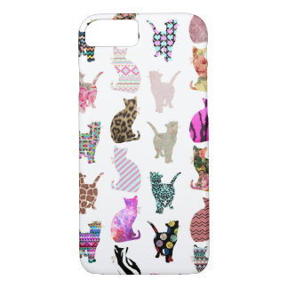 Girly Whimsical Cats aztec floral stripes pattern iPhone 7 Case