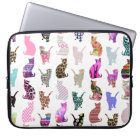 Girly Whimsical Cats aztec floral stripes pattern Laptop Sleeve
