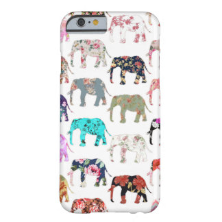 Girly Whimsical Retro Floral Elephants Pattern Barely There iPhone 6 Case