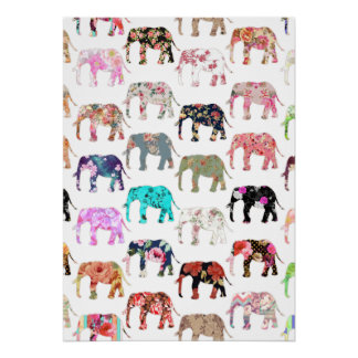 Girly Whimsical Retro Floral Elephants Pattern Poster