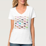 Girly Whimsical Retro Floral Elephants Pattern T-Shirt
