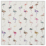 Girly Whimsical Retro Floral Flamingos Pattern Fabric