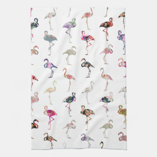 Girly Whimsical Retro Floral Flamingos Pattern Tea Towel