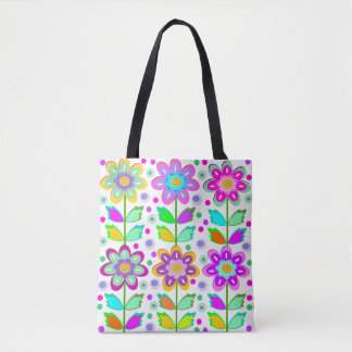 Girly whimsy floral tote bag