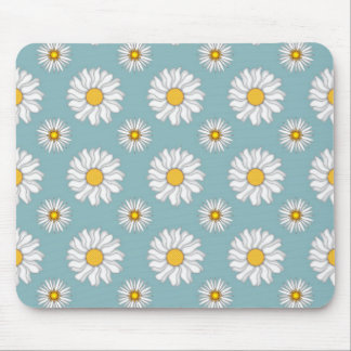 Girly White Daisies on Teal Background Mouse Pad