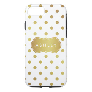 Girly White Gold Polka Dots Pattern Monogram iPhone 7 Case