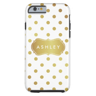 Girly White Gold Polka Dots Pattern Monogram Tough iPhone 6 Case