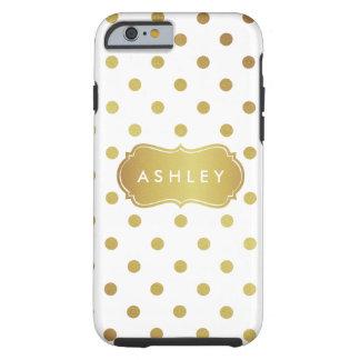 Girly White Gold Polka Dots Pattern Monogram Tough iPhone 6 Case