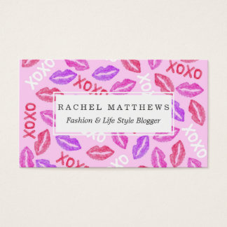 Girly XOXO and Red Pink Watercolor Painted Lips Business Card