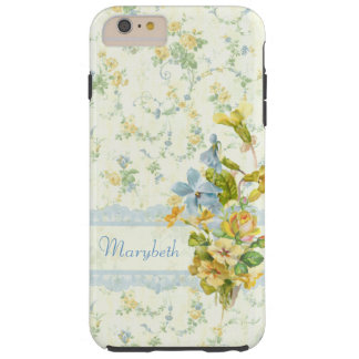 Girly Yellow and Blue Cottage Floral Personalized Tough iPhone 6 Plus Case