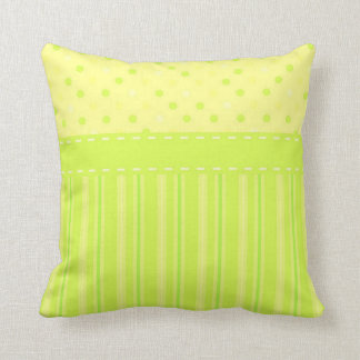 Girly Yellow & Lime Green Polka Dot Ribbon Pillow