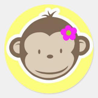Girly Yellow Monkey Classic Round Sticker