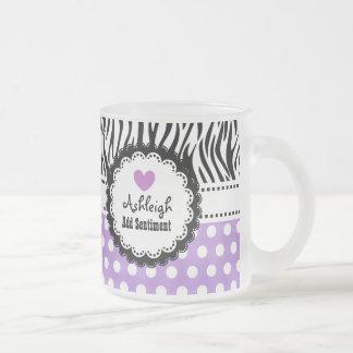Girly Zebra and Purple Polka Dots Custom Name A03 Frosted Glass Mug