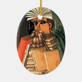 Giuseppe Arcimboldo -- the Librarian Ceramic Oval Decoration