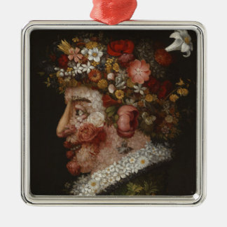 Giuseppe Arcimboldo's La Primavera (1563) Silver-Colored Square Decoration