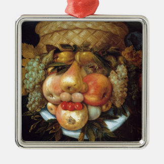 Giuseppe Arcimboldo's Reversible Head with Basket Silver-Colored Square Decoration