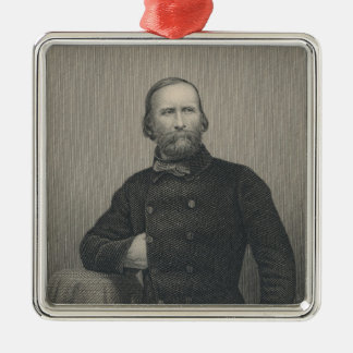 Giuseppe Garibaldi, engraved by D.J Pound Silver-Colored Square Decoration