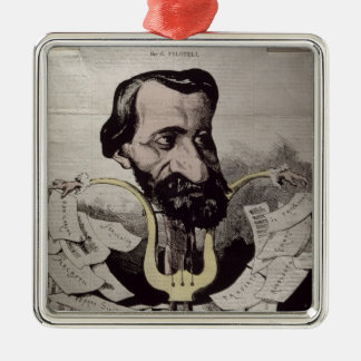 Giuseppe Verdi , caricature, 1860's Silver-Colored Square Decoration