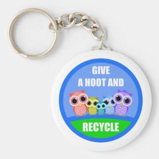 give a hoot and recycle keychains