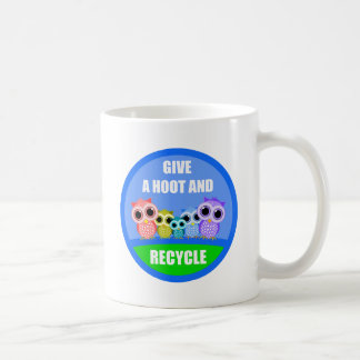 give a hoot and recycle mug
