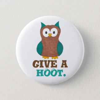 Give a HOOT Cartoon Owl Bird Eyes Owls Button