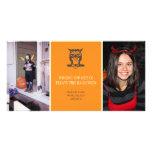 Give a hoot cute owl orange Halloween two photos Custom Photo Card