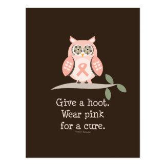 Give A Hoot Pink Ribbon Owl Postcard