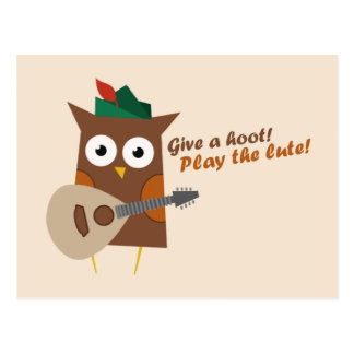 Give a hoot! Play the lute Postcard