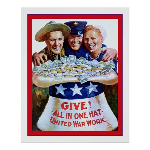 Give! All In One Hat ~ Vintage World War 1 Print