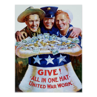 Give! All In One Hat ~ Vintage World War 1. Poster