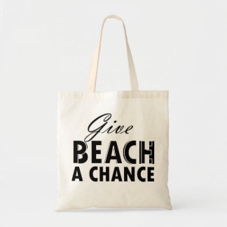 give beach/peace a chance budget tote bag