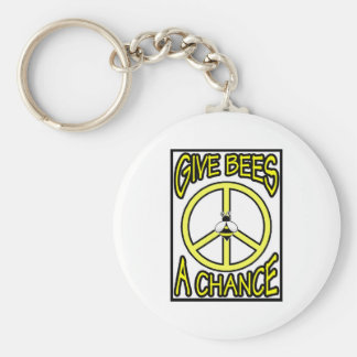 Give Bees A Chance Basic Round Button Key Ring