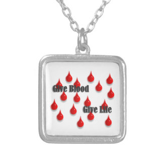 Give Blood Give Life Silver Plated Necklace
