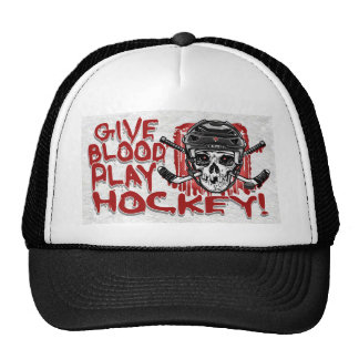 Give Blood Play Hockey Black Hats