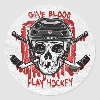 Give Blood Play Hockey Black Round Sticker